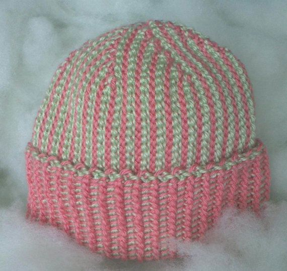 Deco Hat light pink and light green winter hat by fantasticmio  Sponsored By: Grandma's Crochet Shop