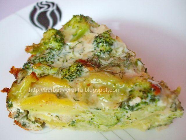 Budinca de broccoli cu cartofi preparare reteta