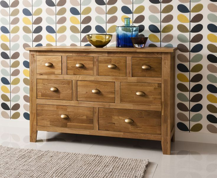 Exuding a rustic charm, the Vermont Oak Sideboard gracefully introduces an authentic style to living rooms and dining rooms. Crafted from oak, the design features two large drawers, three medium drawers and four small drawers, perfect for storing anything from stationary to knick-knacks. | eBay!