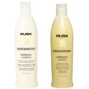 Rusk Brilliance Shampoo & Conditioner Set, 13.5oz Each by Rusk. $28.86. Revive weak, over processed and dry hair with Rusk Brilliance Shampoo. The formula contains pure honey, vegetable protein and sea kelp to strengthen and improve hair. Rusk Brilliance Shampoo gently cleanses hair and protects color-treated hair. Rusk Brilliance Shampoo preserves shine as Vitamin C, E and A keep color from fading.