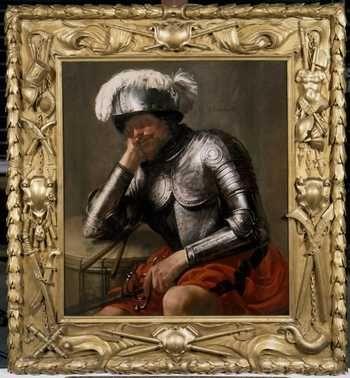 Slapende Mars (1629) Anoniem Noord-Nederlands (lijstenmaker), Hendrick ter Brugghen. Schilderij: olieverf op paneel ; lijst: lindenhout, verguld. Schenking 1928.
