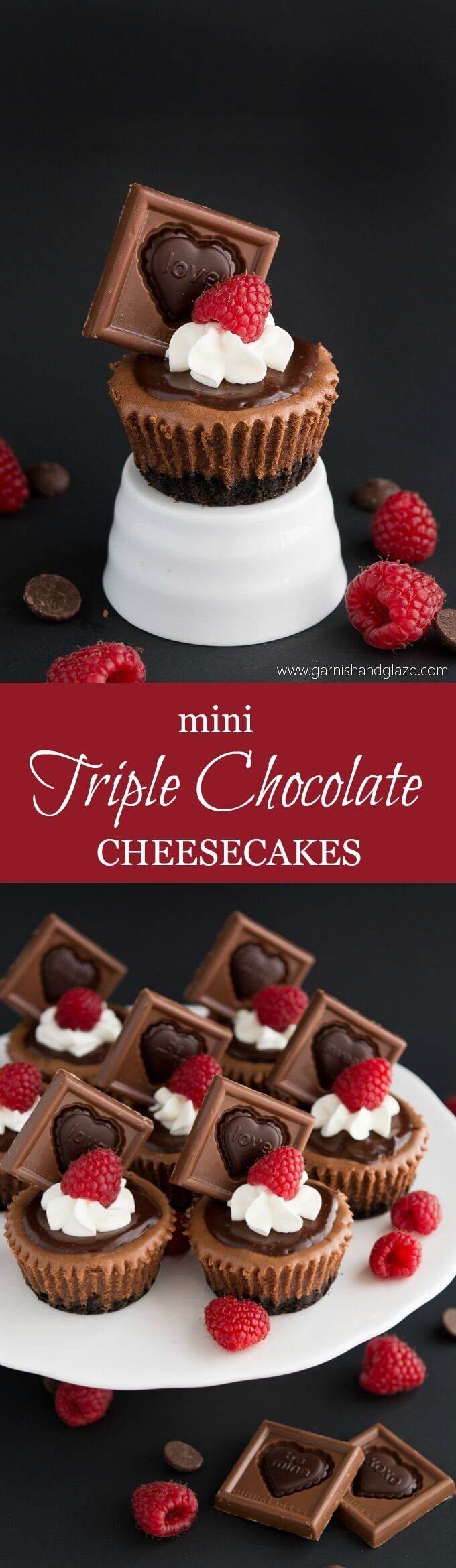 These rich, smooth, and creamy Mini Triple Chocolate Cheesecakes are the perfect dessert for chocolate lovers! They're perfectly portioned and  much faster to make than a big cheesecake.