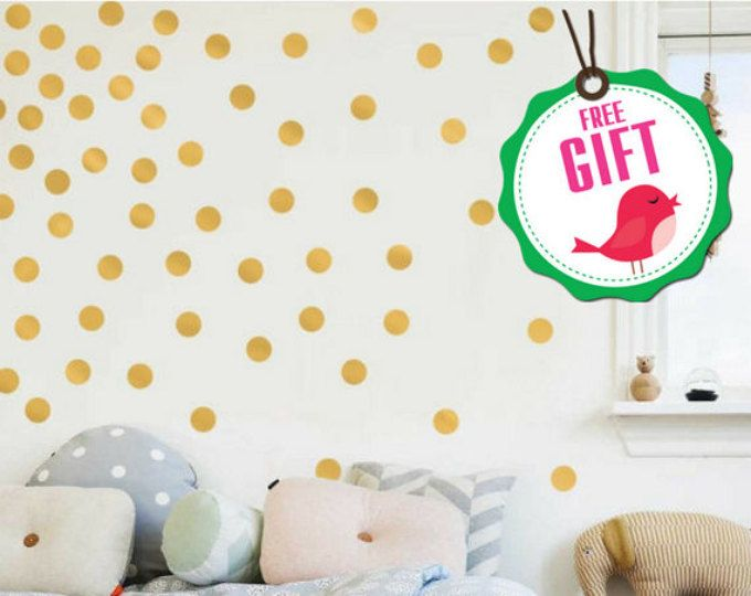Polka Dots Wall Decals, Polka Dot Wall Decals, Gold Polka Dots, Gold Dot Part 93