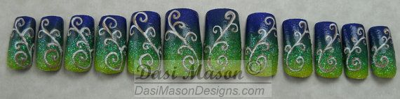 Navy Blue to Yellow Gradient Instant Acrylic Nail Set by dasimason, $10.00