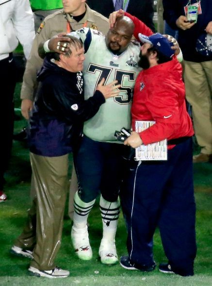 New England Patriots vs. Seattle Seahawks - Head coach Bill Belichick of the New England Patriots, Vince Wilfork #75 of the New England Patriots and New England Patriots Defensive Coordinator Matt Patricia celebrate after defeating the Seattle Seahawks during Super Bowl XLIX at University of Phoenix Stadium on February 1, 2015 in Glendale, Arizona. The Patriots defeated the Seahawks 28-24. (Photo by Jamie Squire/Getty Images)