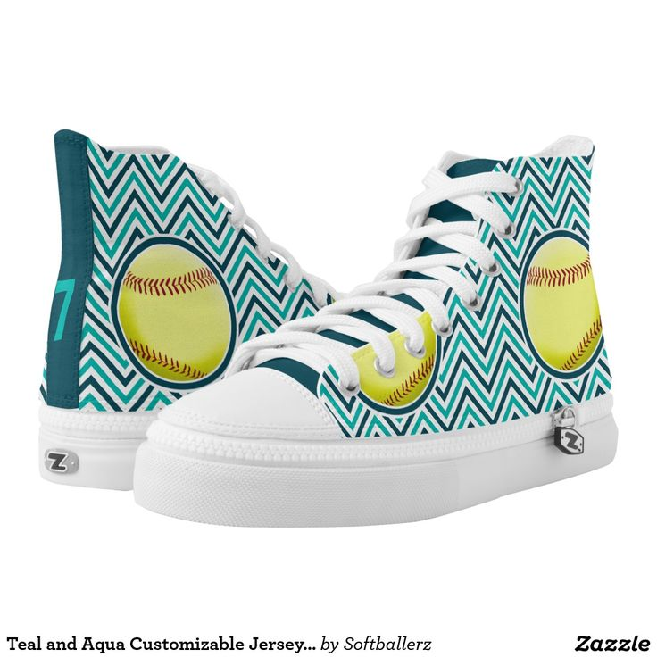 Teal and Aqua Customizable Jersey Number Softball Printed Shoes! Type in your own jersey number or initials to customize it! #softball #shoes #softballshoes