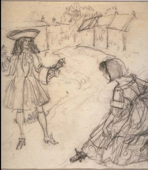 Pencil Sketch -Cavalier and Lady: Sketch Cavalier, Pencil Sketch