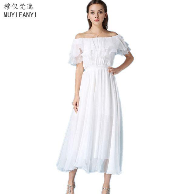 Новый 2017 Сексуальная С Плеча Элегантный Белый Шифон Партия Dress Женщины Оборками Тонкий Пляж Макси Лонг Dress Vestidos D268