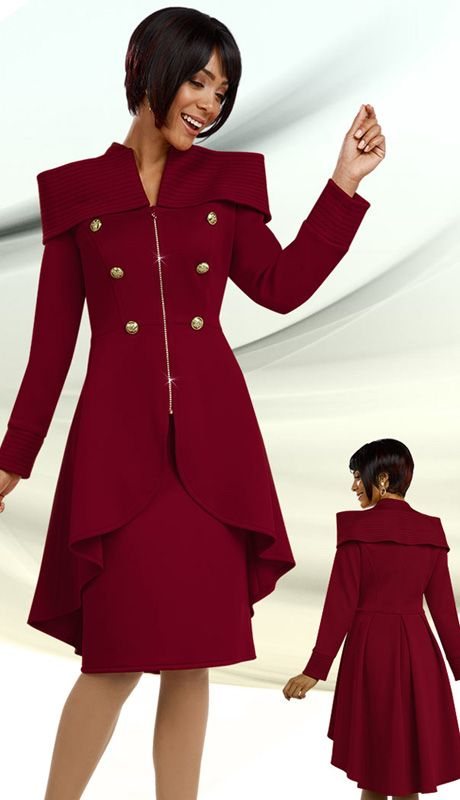Ben Marc 48091 ( 2pc Scuba Knit Ladies Suit For Church With High-Low Jacket, Zipper Front And Skirt )