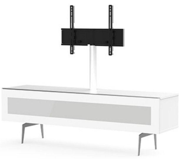 Meuble Tv Avec Support Ecran Bois Blanc Et Verre Menthy 160 Cm Meuble Support Tv Meuble Tv Angle Meuble Tv Bois
