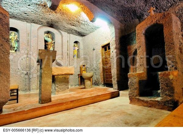 Church in a Cave Barranco de Guayadeque Gully on Gran Canaria Canary Islands Spain.