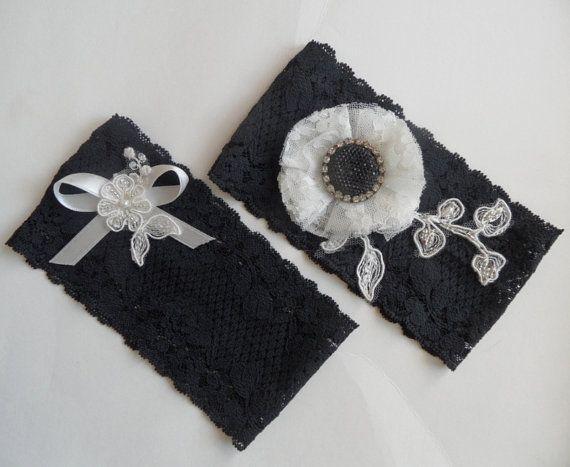 gothic black garter, lace garter flexible floral, wedding, party, suspenders,halloween .FREE SHIP