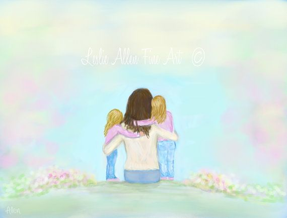Mother Two Daughters ART PRINT Mother by LeslieAllenFineArt