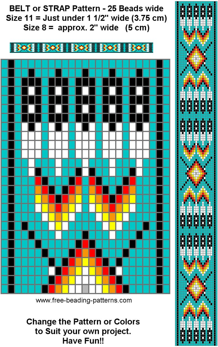 Native American Indian Beadwork | Traditional Pattern for a Beaded Belt, Turquoise - LOOM BEADING ...