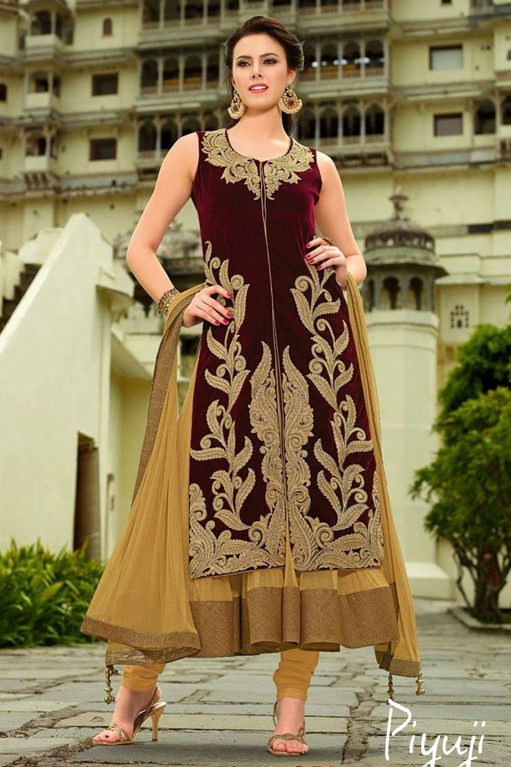 sleeve less gown style embroidery work full length salwar suit