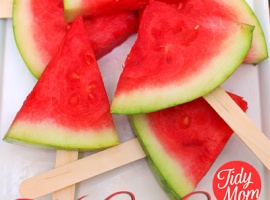 """Fruit   """"watermelon on a stick""""  Yep on a stick ->  plain and simple   :)"""