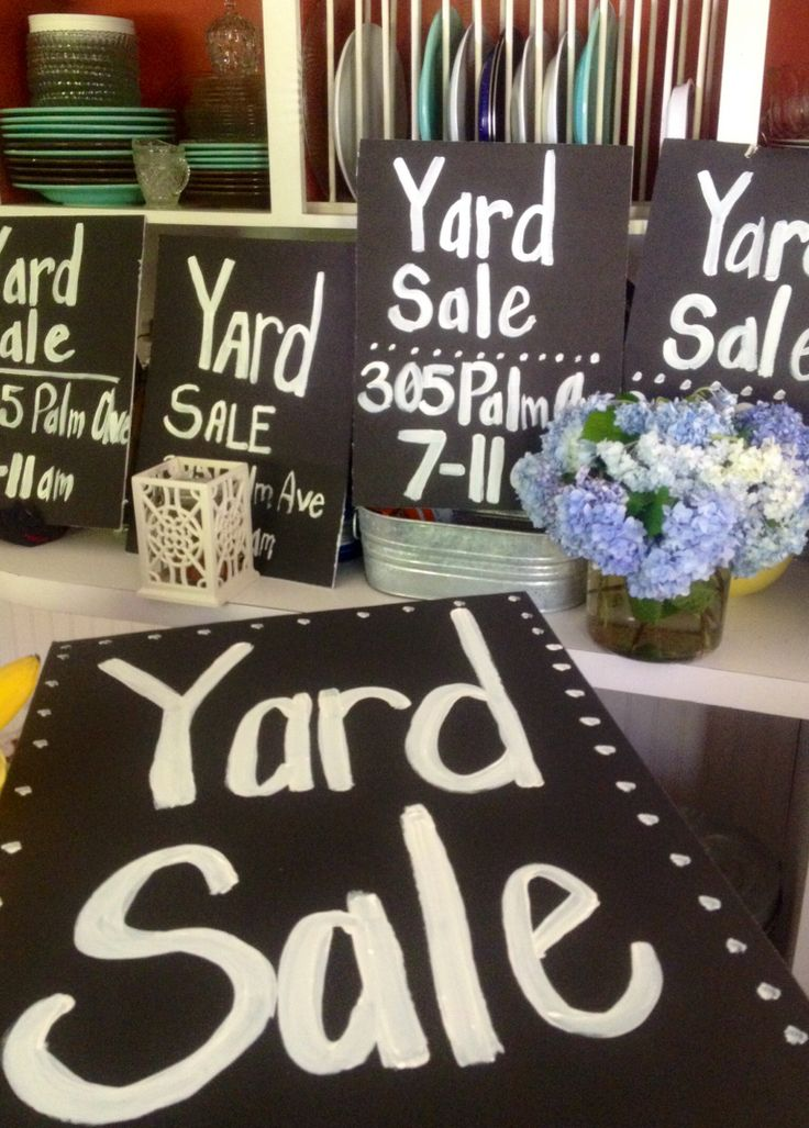 Chalkboard inspired yard sale signs black signs with