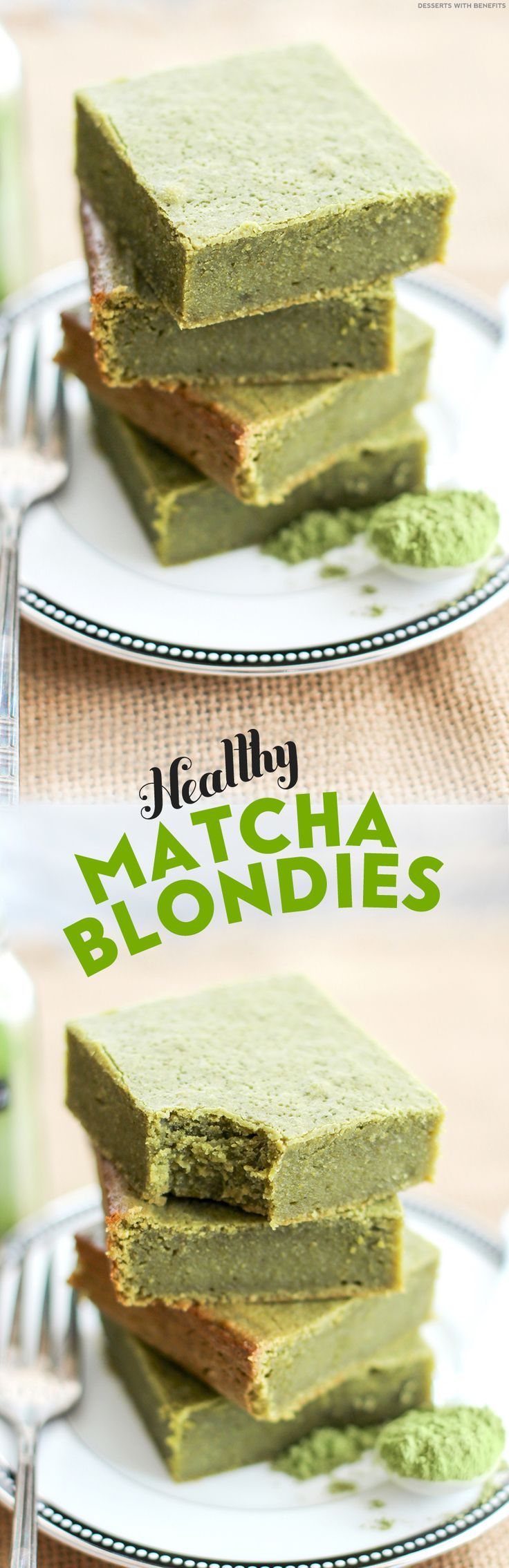 These Healthy Matcha Green Tea Blondies are fudgy, moist, dense and sweet with a hint of white chocolate flavor. Oh, and they're secretly 100% whole grain, refined sugar free, gluten free, and vegan!