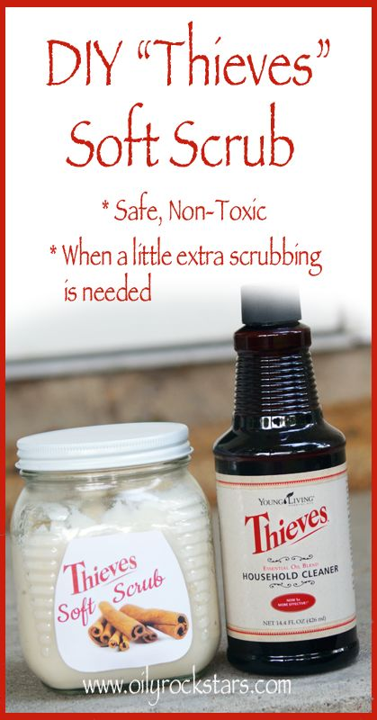 "Typically I can use my Thieves Household Cleaner to clean most everything, but sometimes I need a little more ""muscle."" So in those instances, I use my Homemade Thieves ""Soft Scrub"". I use it on soap scum, to clean tile grout, to remove pesky stains on the stove top, ""marker miss haps"" from my little one. You could really use it on just about anything. Give it a shot. It's so easy to make, and this recipe will last you a while."