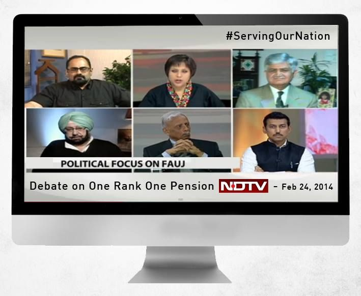 Participated in a debate on One Rank, One Pension on NDTV. I spoke about pressing issues such as #OROP & Voting Rights of the Armed Forces Personnel #SoldiersShouldVote   Watch the video: http://www.ndtv.com/video/player/the-buck-stops-here/political-focus-on-soldiers-real-concern-or-realpolitik/310790 Share your thoughts. #ServingOurNation