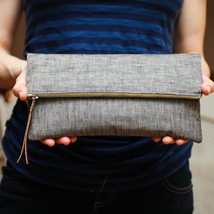 """The Sydney Clutch in Charcoal. $40.00, via Etsy. 10.5"""" X 5.5"""" when folded and 9"""" tall when open. Lined w/ blk/wht stripe."""