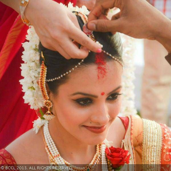 Anita Hassanandani at her wedding in Goa on October 14, 2013.