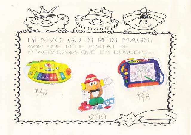 La Carta als Reis de l'Orient amb fotografies dels catàlegs de joguines.