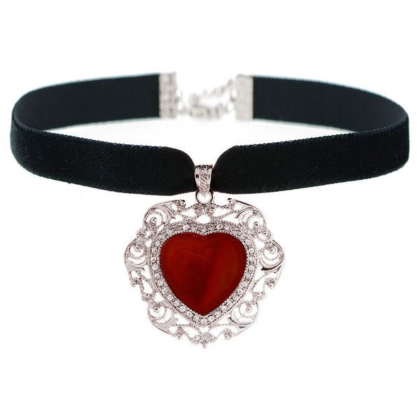 TIANA Red Agate Heart Choker ($31) ❤ liked on Polyvore featuring jewelry, necklaces, chokers, accessories, black, red jewelry, heart necklace, black heart necklace, red black necklace and heart jewelry