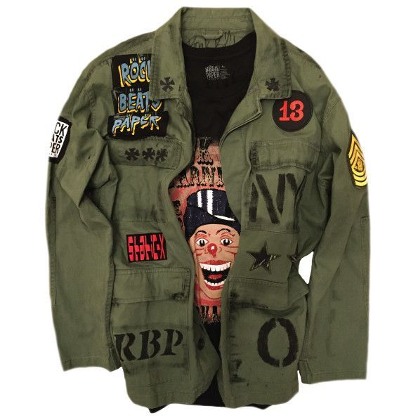 Men's Size Large Military Jacket. Hand painted details. Embroidered Patches. Jersey appliqués with print and flocking accents. One of a Kind. Signed and numbered. Punk Carnival T-Shirt not included. F - clothing, styles, cool, dance, fall, workout clothes *ad
