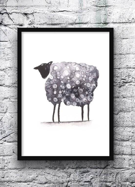 Original Black Sheep Painting Sheep Watercolor Black And White Art