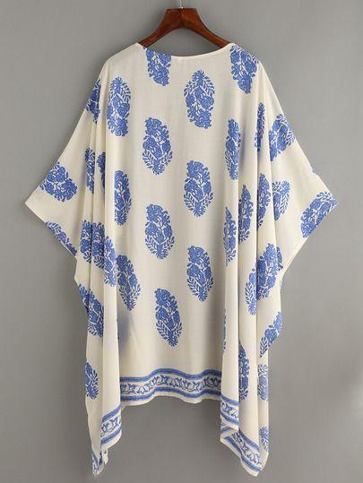 Beige Vintage Pattern Print Kimono -SheIn(Sheinside)