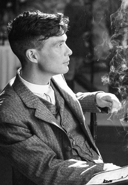 "Cillian Murphy as Thomas Shelby in BBC ""Peaky Blinders."" Stunning. That jaw line! Beautiful man."