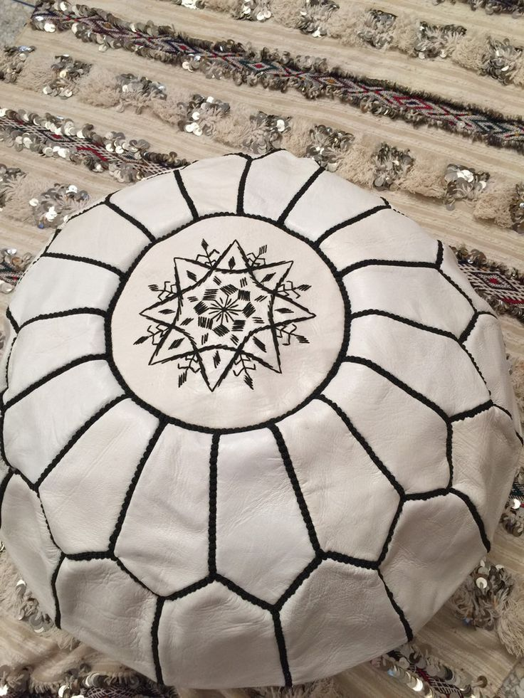White Beautiful handmade Moroccan Ottomans / Poufs