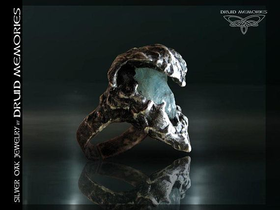 "Raw aquamarine ring ""Orpheo"", druid ceremonial ring, shaman ring,statement ring, onesize ring, mens and womens ring,wizard ring, pagan ring."