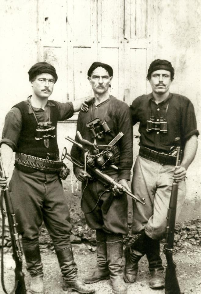 May 1941, Battle of Crete. Cretan civilians – men, women, children, priests, monks, and even nuns -armed or otherwise- joined the battle with whatever weapons were at hand. In some cases, ancient matchlock rifles which had last been used against the Turks were dug up from their hiding places and pressed into action.