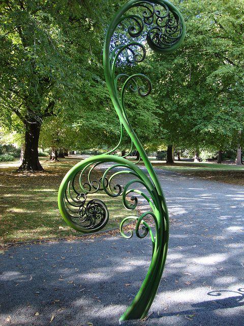 Koru spiral sculpture in Hagley Park, Christchurch