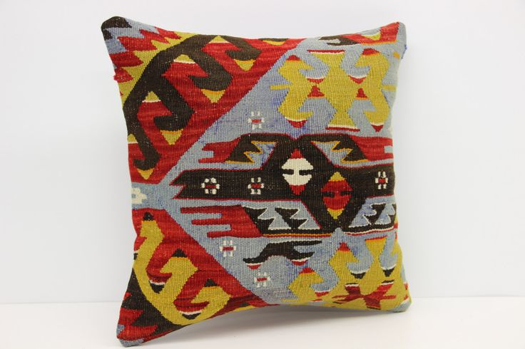 Traditional Kilim pillow cover 16x16 inches Handwoven pillows Armchair handmade kilim pillow Pattern Cushion covers  Square pillow M-1381 by stripepattern on Etsy