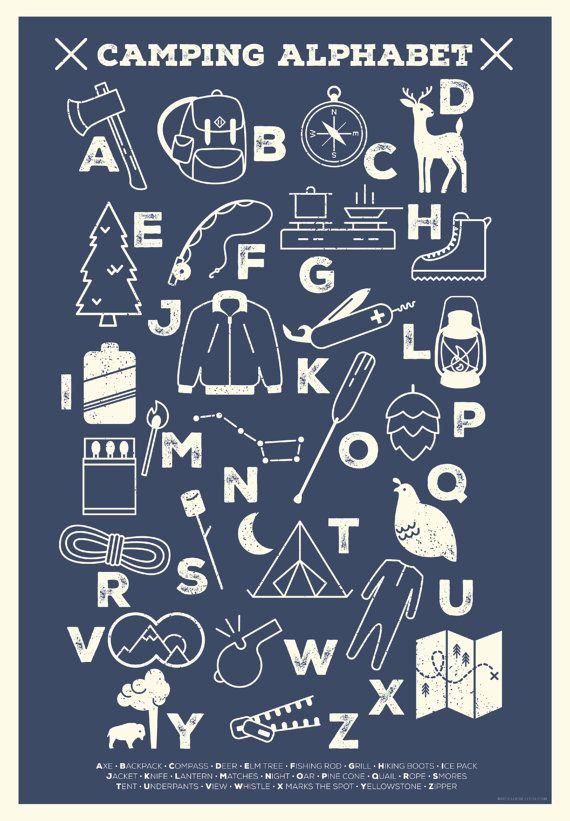 Hey, I found this really awesome Etsy listing at https://www.etsy.com/listing/242745297/camping-alphabet-poster