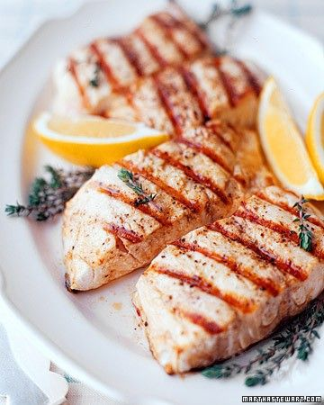 Before cooking, marinate striped bass fillets in olive oil, lemon juice, garlic, and your choice of thyme or oregano. If it's not grilling weather, prepare this dish on the stove top using a cast-iron grill pan.