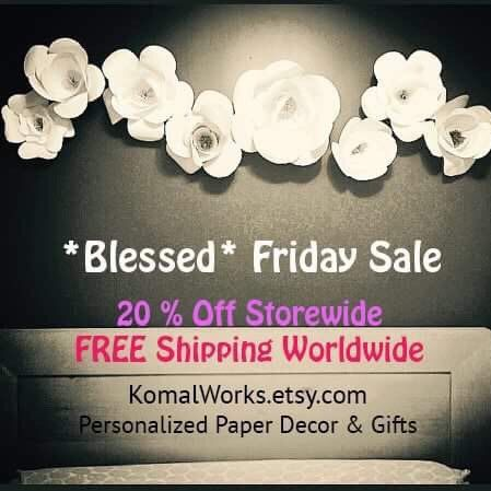 KomalWorks' BLESSED FRIDAY SALE is here! Yes! You read it right! Take 20% OFF your total purchase (no minimum purchase required) plus free shipping worldwide! Grab the deal before it's gone.  KomalWorks.etsy.com #etsy #blackfridaysale #decor #komalworks