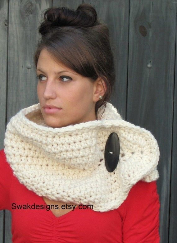 Womens Scarf Chunky Wool Cowl Oversized Button Cowl by SWAKCouture, $49.00