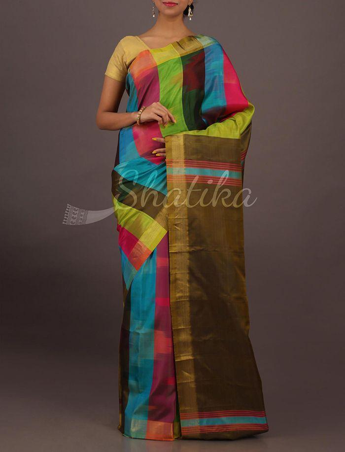 Aarti Multi Hue Stripes Contemporary #SoftSilkSaree