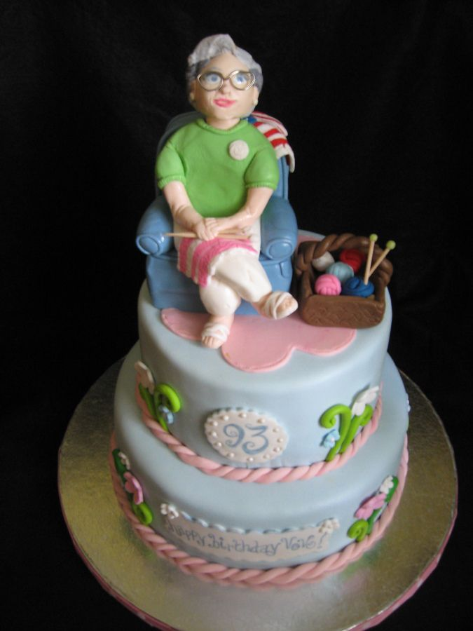 Old Lady Knitting Cake Topper : Fondant grandma satin ice this was modeled