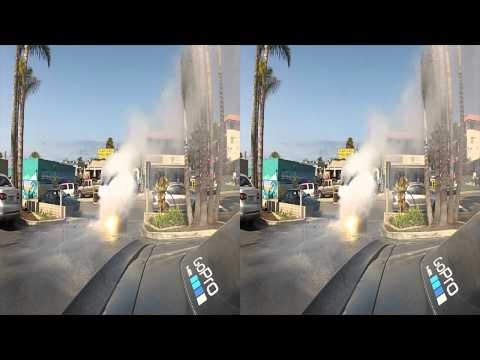 Car fire in 2D and 3D