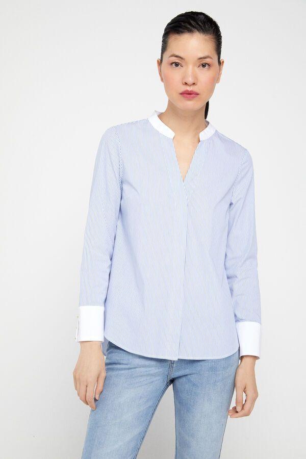 Camisa Algodón Confort Blusas Cortefiel Camisa Cuello Mao Mujer Blusas Blusa Cortefiel