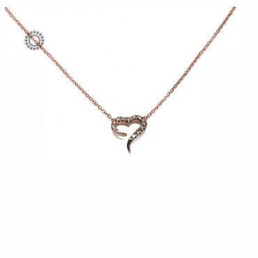 Διακριτικό πολύτιμο κολιέ ροζ χρυσό Κ18 με κρεμαστή ανοιχτή καρδιά από cognac (καφέ) διαμάντια   Κοσμηματοπωλείο ΤΣΑΛΔΑΡΗΣ στο Χαλάνδρι από το 1958 #καρδια #διαμαντια #μπριγιαν #χρυσο #κολιε