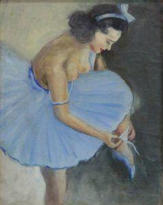 MAKRA JÁNOS 1920 –  BALETKA  okolo 1940, olej, sololit, 35,5 x 28 cm, vpravo dole: Makra J.  #art #auction #dancer #museum #auctionhouse #diana