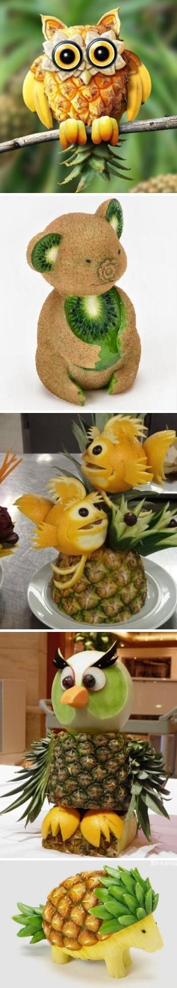 Lifelike creative fruit animal sculptures