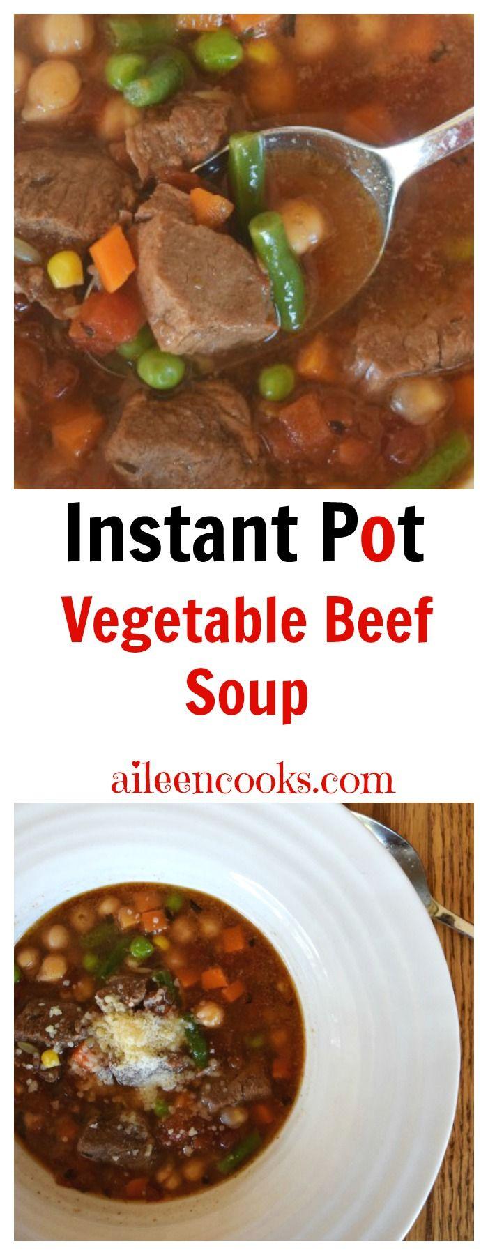 Instant Pot Vegetable Beef Soup via @aileencooks