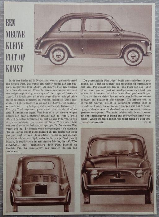 Fiat 500 - veel 10 advertenties van 1957 tot 1968  Fiat 500500 - 500 zonnedak - 500 Giardiniera - 500 Autobianchi Quattro Posti - 500 Autobianchi Cabriolet - 500 Autobianchi Panoramica - 500 Autobianchi Van - 500 Gamine - Abarth 695 SS10 x tijdschrift advertenties van 1957-19682 x 1957 / 1 x 1961 / 1 x 1963 / 2 x 1964 / 3 x 1965 / 1 x 1968Taal: 10 x NederlandsAfmetingen: 1 x a3 / 5 x a4 / 4 x a6Alle advertenties zijn opslag in plastic hoesScheepvaart in kartonnen enveloppeVoor de echte…